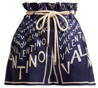 Logo Print Paperbag Waist Silk Twill Shorts - Womens - Navy White