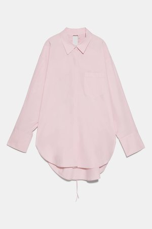 OVERSIZED POPLIN SHIRT   ZARA United States pink