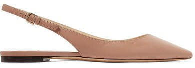 Erin Leather Slingback Point-toe Flats - Neutral