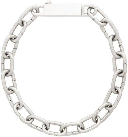 Rick Owens: Silver Easy Choker Necklace   SSENSE