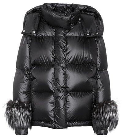 Fur-trimmed down coat