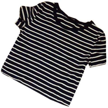 Weixinbuy Womens Sexy Striped T-shirt Casual Midriff Short Striped