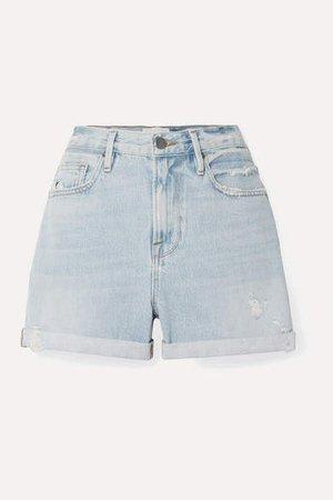 Le Beau Distressed Denim Shorts - Blue