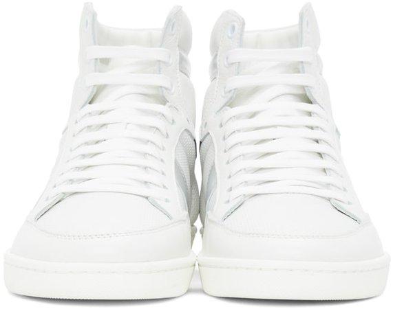Saint Laurent: White & Silver Court Classic SL/10H Sneakers | SSENSE