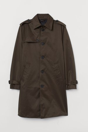 Single-breasted Trenchcoat - Green