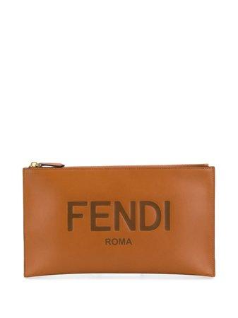 Fendi Debossed Logo Clutch Bag - Farfetch