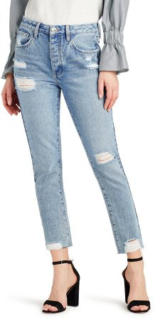 The Stiletto Distressed High Waist Ankle Straight Leg Jeans