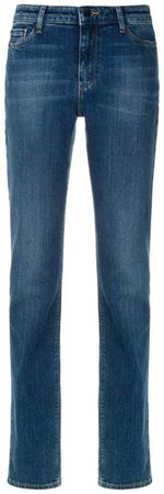 stonewashed straight-leg jeans