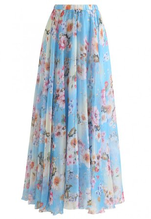 Peach Blossom Watercolor Maxi Skirt - Skirt - BOTTOMS - Retro, Indie and Unique Fashion
