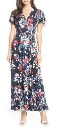 Linosa Floral Print Faux Wrap Maxi Dress
