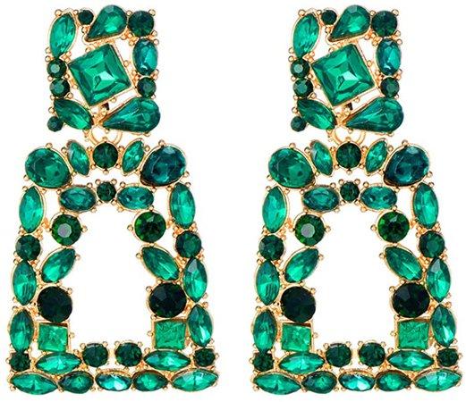 Amazon.com: Crystal Rectangle Dangle Earrings for Women Rhinestone Geometric Drop Statement Earrings KELMALL COLLECTION: Clothing