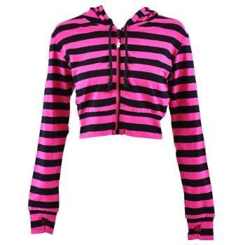 Pink & Black Crop Hoodie