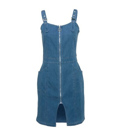 Blue Vanilla Bright Blue Zip Front Denim Dress | New Look
