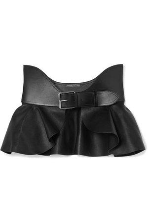 Alexander McQueen | Ruffled leather waist belt | NET-A-PORTER.COM