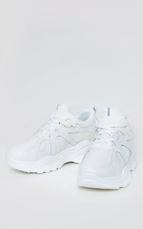 White Chunky Panelled Trainers | Shoes | PrettyLittleThing USA