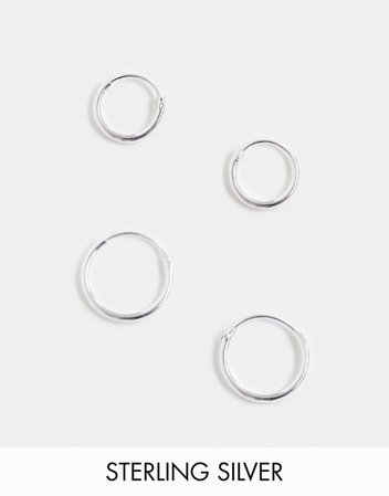 ASOS DESIGN sterling silver 12mm and 9mm hoop earring pack   ASOS
