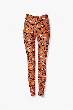 Pumpkin Print High-Rise Leggings   Forever 21