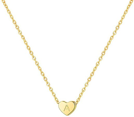 Amazon.com: Tiny Gold Heart Initial Necklace,Dainty Cute Personalized Initial A Pendant Necklaces for Girls and Women : Clothing, Shoes & Jewelry