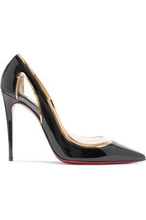 Christian Louboutin | Cosmo 100 metallic-trimmed PVC and patent-leather pumps | NET-A-PORTER.COM