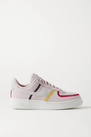 Air Force 1 '07 Suede-trimmed Canvas Sneakers - Blush