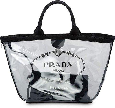 sheer logo tote bag