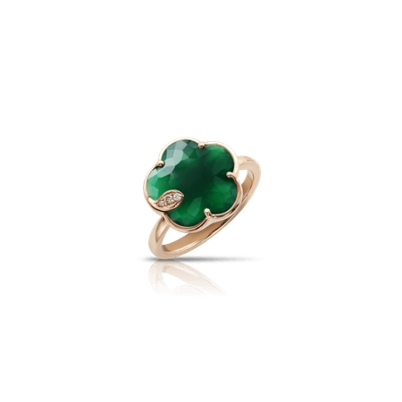 18k Rose Gold Petit Joli Ring with Green Agate, White and Champagne diamonds, Pasquale Bruni