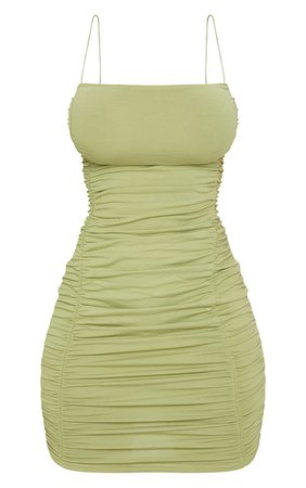 Shape Sage Green Cotton Spaghetti Strap Ruched Bodycon Dress - Hourglass Shape Dresses - PLT Shape - Shop By..   PrettyLittleThing