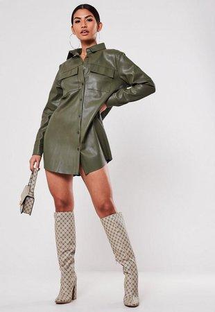 Khaki Faux Leather Oversized Shirt Dress | Missguided