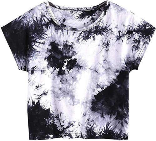 SweatyRocks Women's Tie Dye Letter Print Crop Top T Shirt at Amazon Women's Clothing store