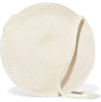 Catzorange - Circle Small Woven Cotton Shoulder Bag - Cream
