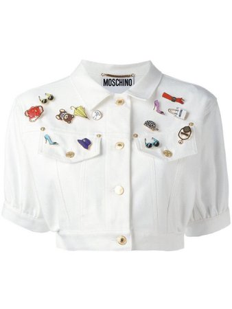 Moschino white button up cropped top