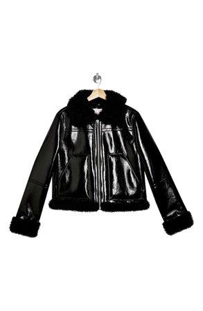 Topshop Faux Leather Biker Jacket with Faux Fur Trim | black