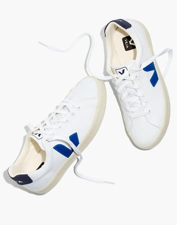 Veja™ Canvas Esplar SE Low Sneakers in White with Blue Accents