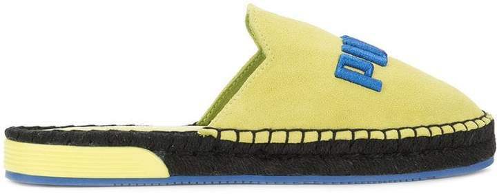 embroidered logo flat espadrilles