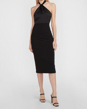 Satin Pieced Halter Neck Midi Dress   Express