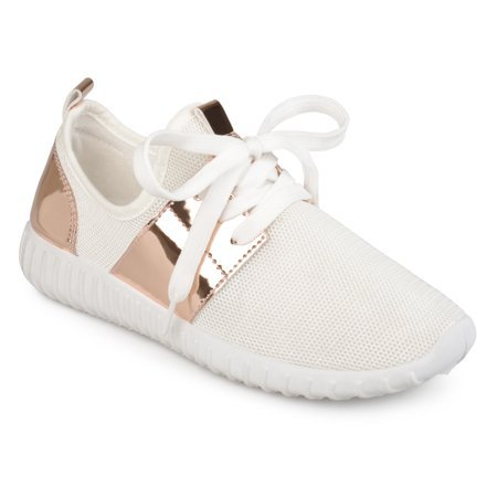 Brinley Co. - Brinley Co. Women's Metallic Fabric Lightweight Breathable Sneakers - Walmart.com - Walmart.com white