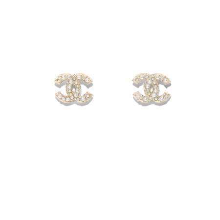 Metal, Strass & Resin Gold & Pearly White Earrings | CHANEL