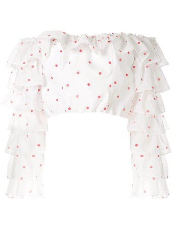 Bambah Polka Ruffle Cropped Blouse | Farfetch.com