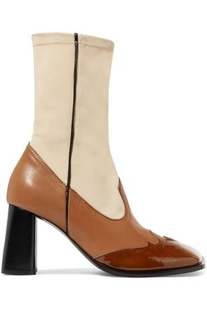 Ellery | Leather and stretch-knit ankle boots | NET-A-PORTER.COM