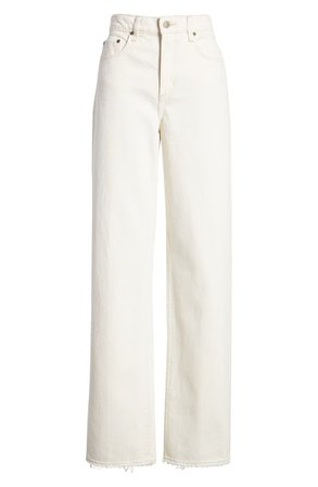 Nobody Denim Lou High Waist Straight Leg Jeans (Ecru) white