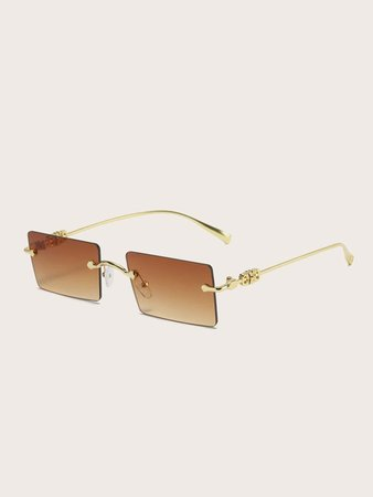 Rectangle Lens Rimless Sunglasses | SHEIN USA