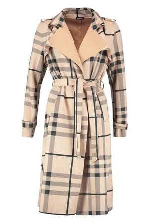 Check Suedette Trench Coat   Boohoo