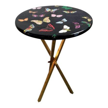 1960s Vintage Fornasetti Butterfly Side Table on Brass Tripod Legs | Chairish