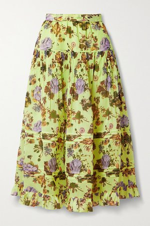 Eugenie Tiered Pleated Floral-print Cotton And Silk-blend Midi Skirt - Yellow