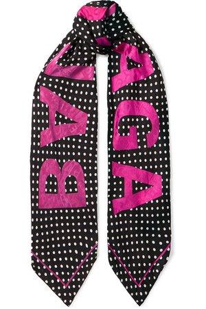 Balenciaga | Polka-dot silk-jacquard scarf | NET-A-PORTER.COM