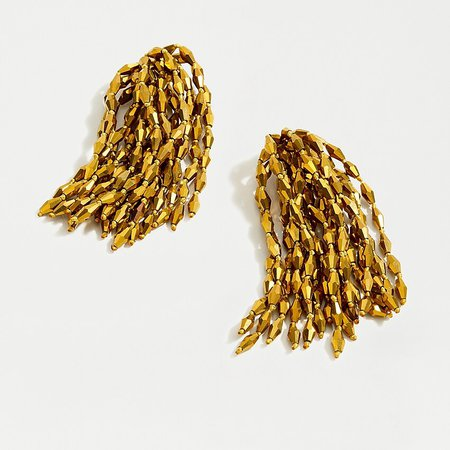 J.Crew: Confetti Bead Statement Earrings gold