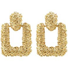 Amazon.com: Gold Square Geometric Dangle Earrings, Fashion Statement Drop Earrings for Women KELMALL COLLECTION: Clothing