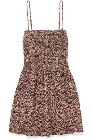 Reformation | Rouen shirred leopard-print linen mini dress | NET-A-PORTER.COM