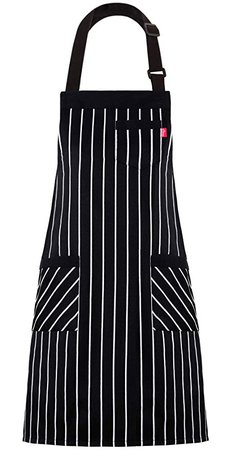"""Amazon.com: ALIPOBO Aprons for Women and Men, Kitchen Chef Apron with 3 Pockets and 40"""" Long Ties, Adjustable Bib Apron for Cooking, Serving - 32"""" x 28"""" - Black/White Pinstripe - 1 Pcs: Gateway"""