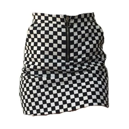 black and white checker pattern high-waisted skirt with a zipper
